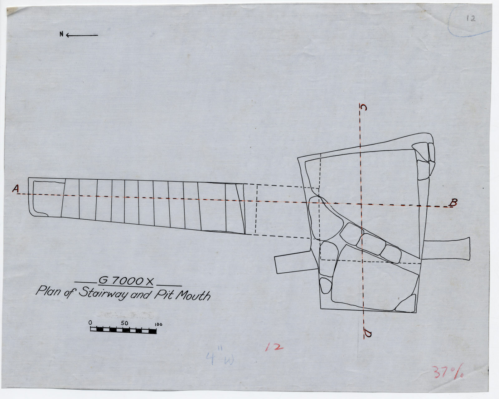 Maps and plans: G 7000 X: Plan of stairway and top of shaft