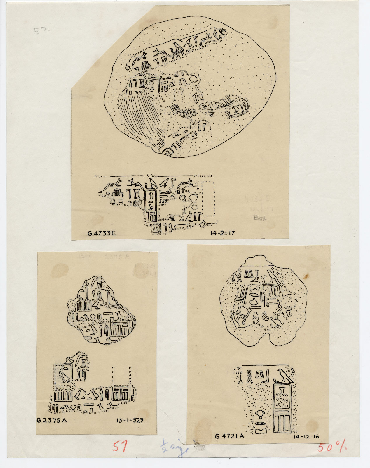 Drawings: sealings from G G 4733, G 2375, and G 4721