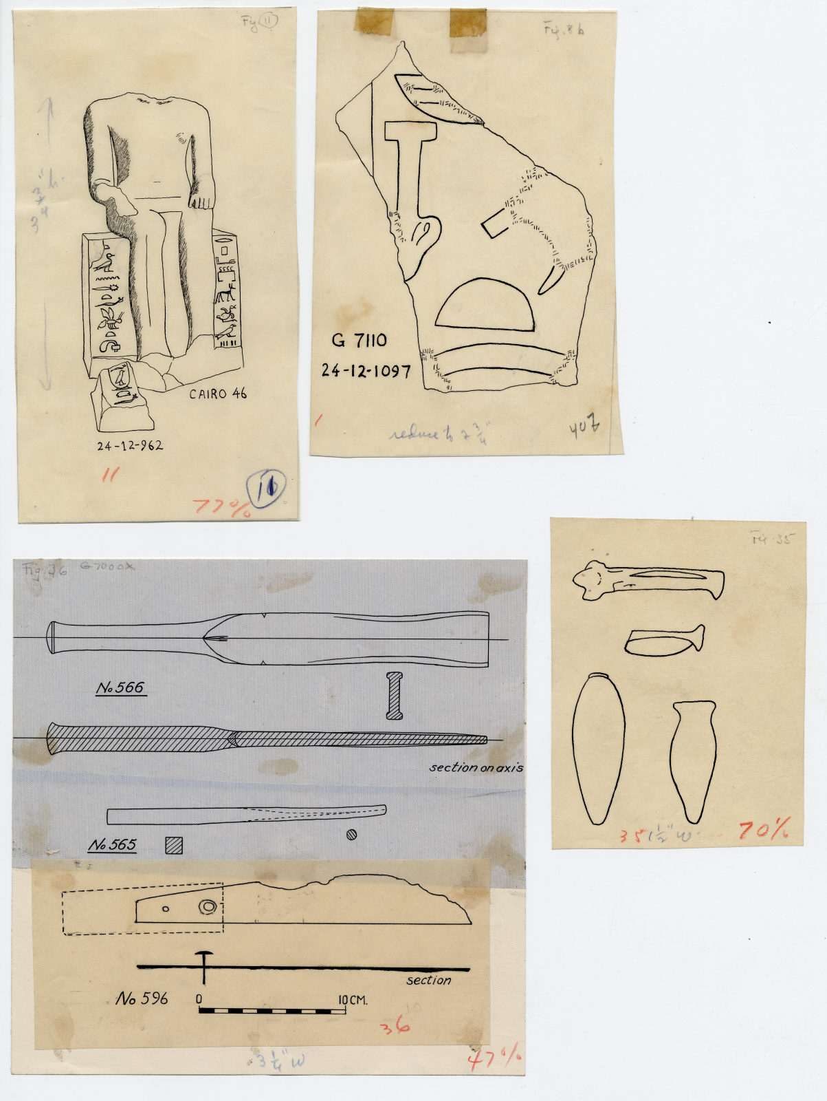 Drawings: Relief from G 7000 X; G 7130, Shaft X (= G 7133); Isis Temple; G 7110