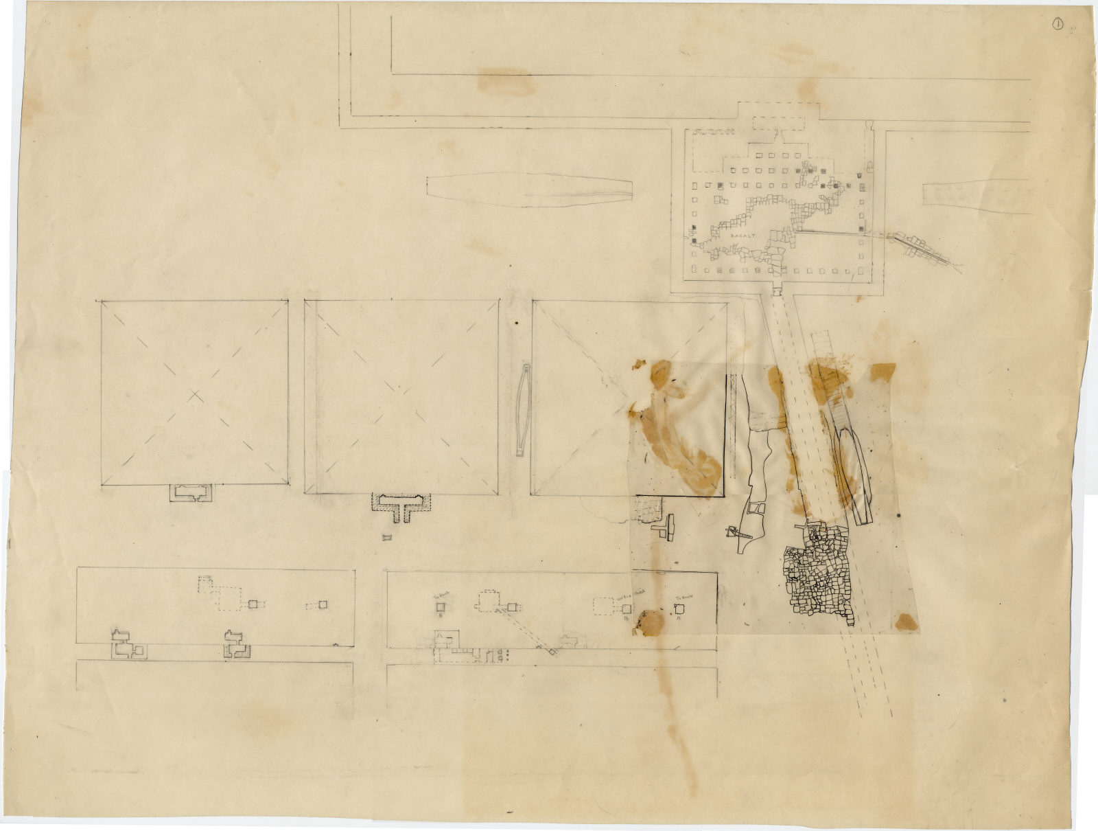 Maps and plans: Plan of G 7000 X, with positions of Khufu Pyramid, G I-a, G I-b, G I-c, G I-x, G 7110-7120, G 7130-7140