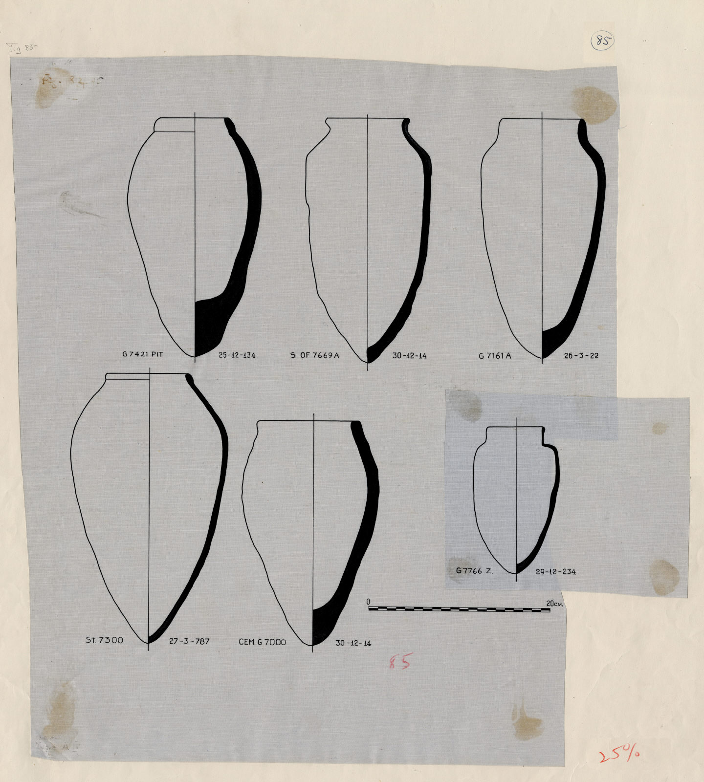 Drawings: Pottery from G 7421; G 7161, Shaft A; G 7766, Shaft Z; Street G 7300; SW of G 7769 A (labeled Cemetery G 7000)