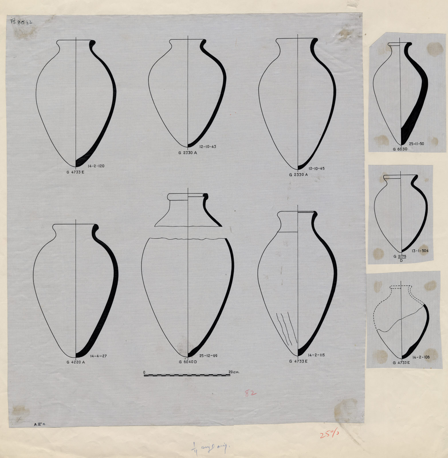 Drawings: Pottery, jars from G 2175, Shaft D; G 2330 (= G 5380), Shaft A; G 4220, Shaft A; G 4733, Shaft E; G 6030; G 6040, Shaft D;