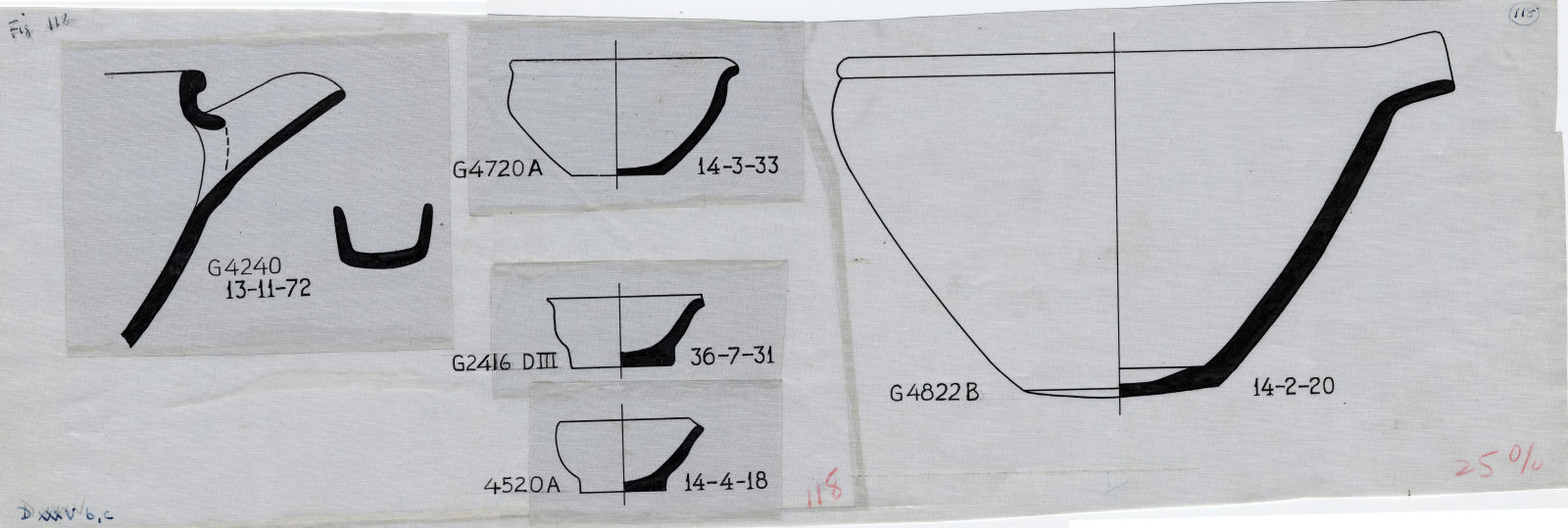 Drawings: Pottery from G 2416, Shaft D; G 4240; G 4520, Shaft B (mislabeled A); G 4720, Shaft A; G 4822, Shaft B
