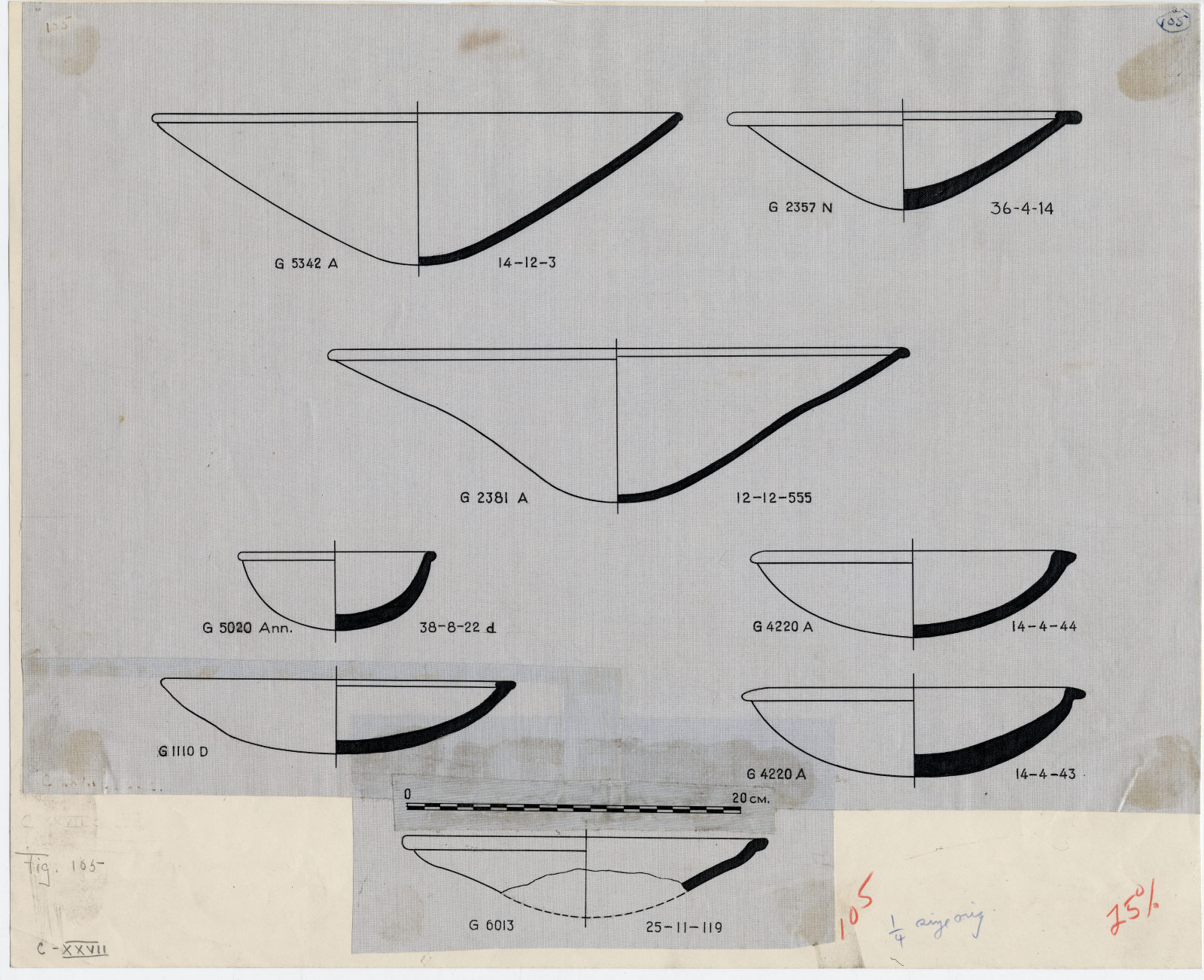 Drawings: Pottery, bowls, from G 1110, Shaft D; G 2357 (= G 5561), Shaft N; G 2381, Shaft A; G 4220, Shaft A; G 5020-Annex; G 5342 (= G 5334), Shaft A; G 6013
