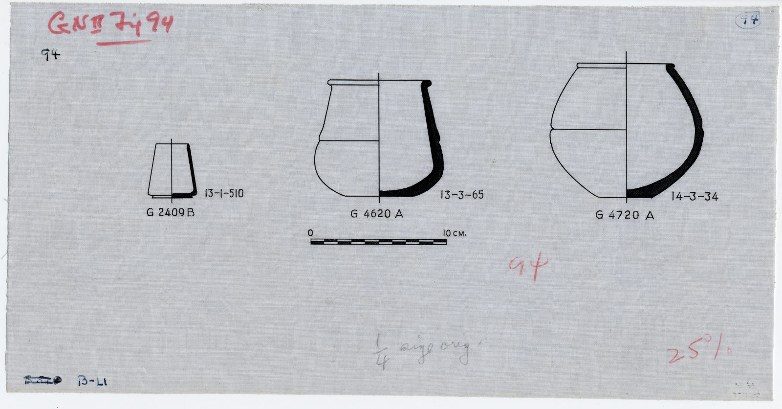 Drawings: Pottery jars from G 2409, G 4620, G 4720