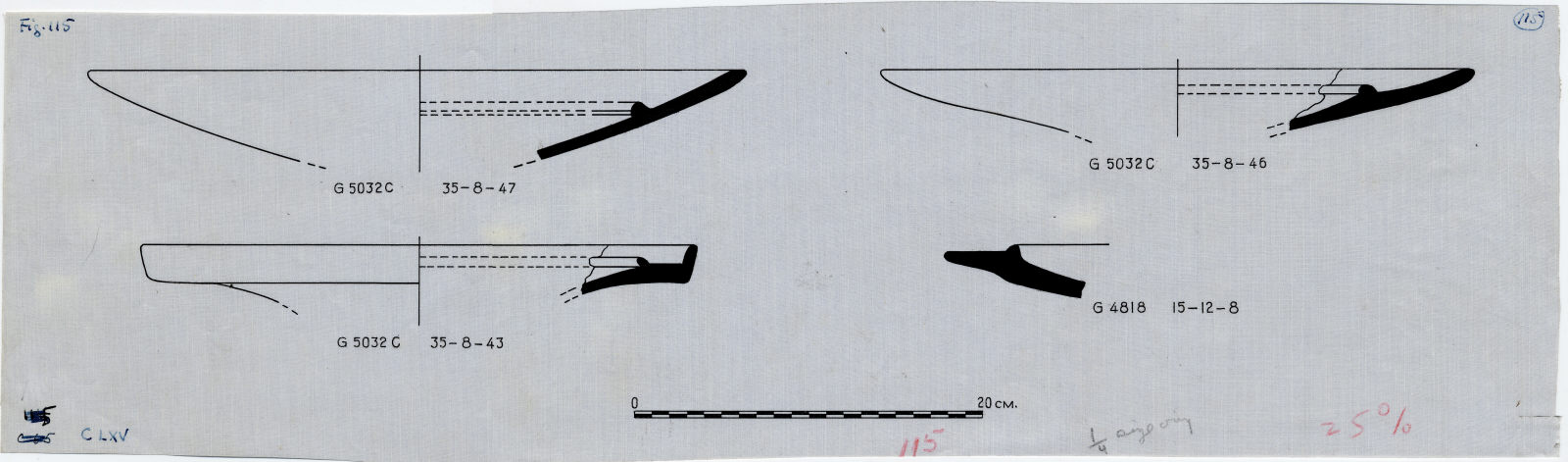 Drawings: Fragments of pottery bowls from G 4818 and G 5032
