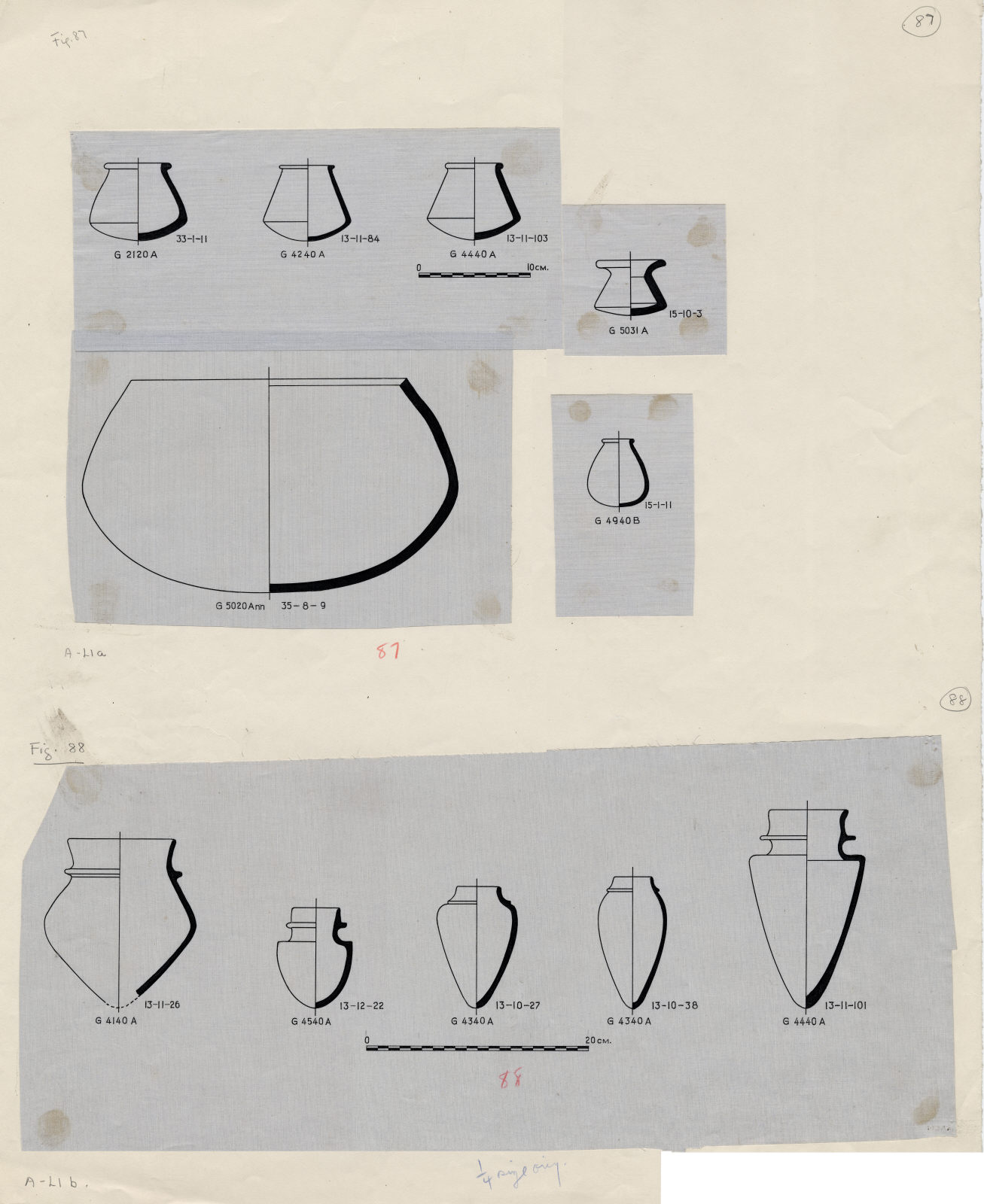Drawings: Pottery from G 2120, G 4140, G 4240, G 4340, G 4440, G 4540, G 4940, G 5020-Annex, G 5031