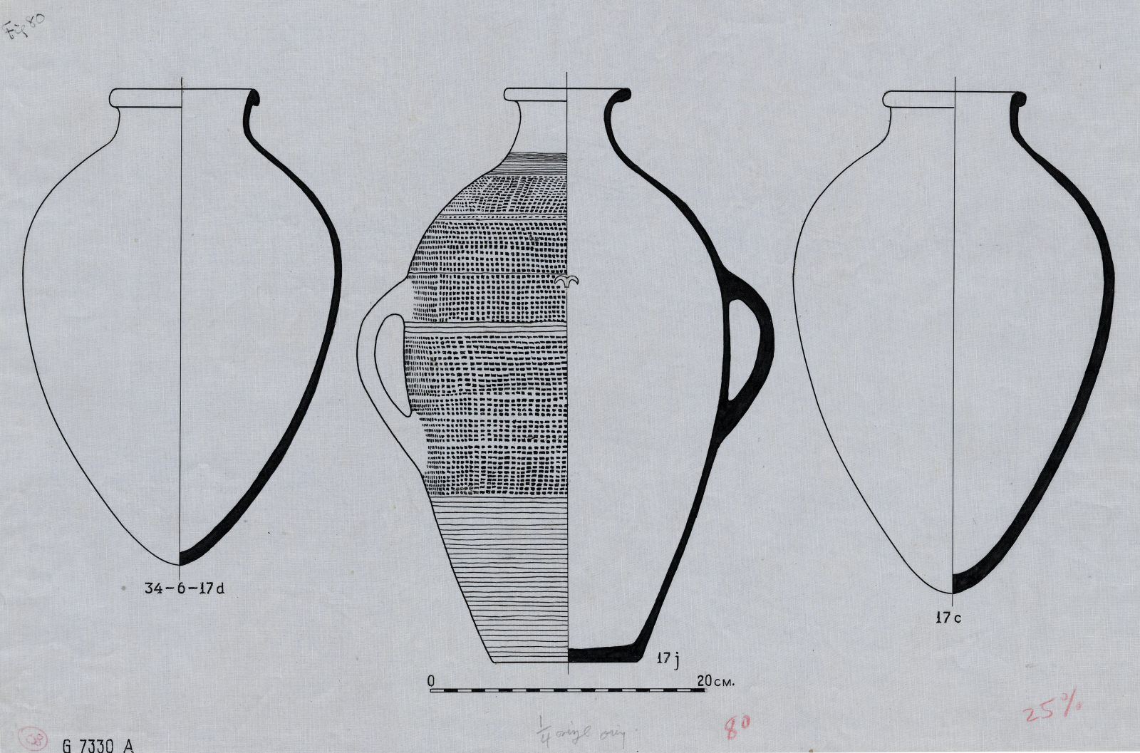 Drawings: G 7330, Shaft A: pottery jars
