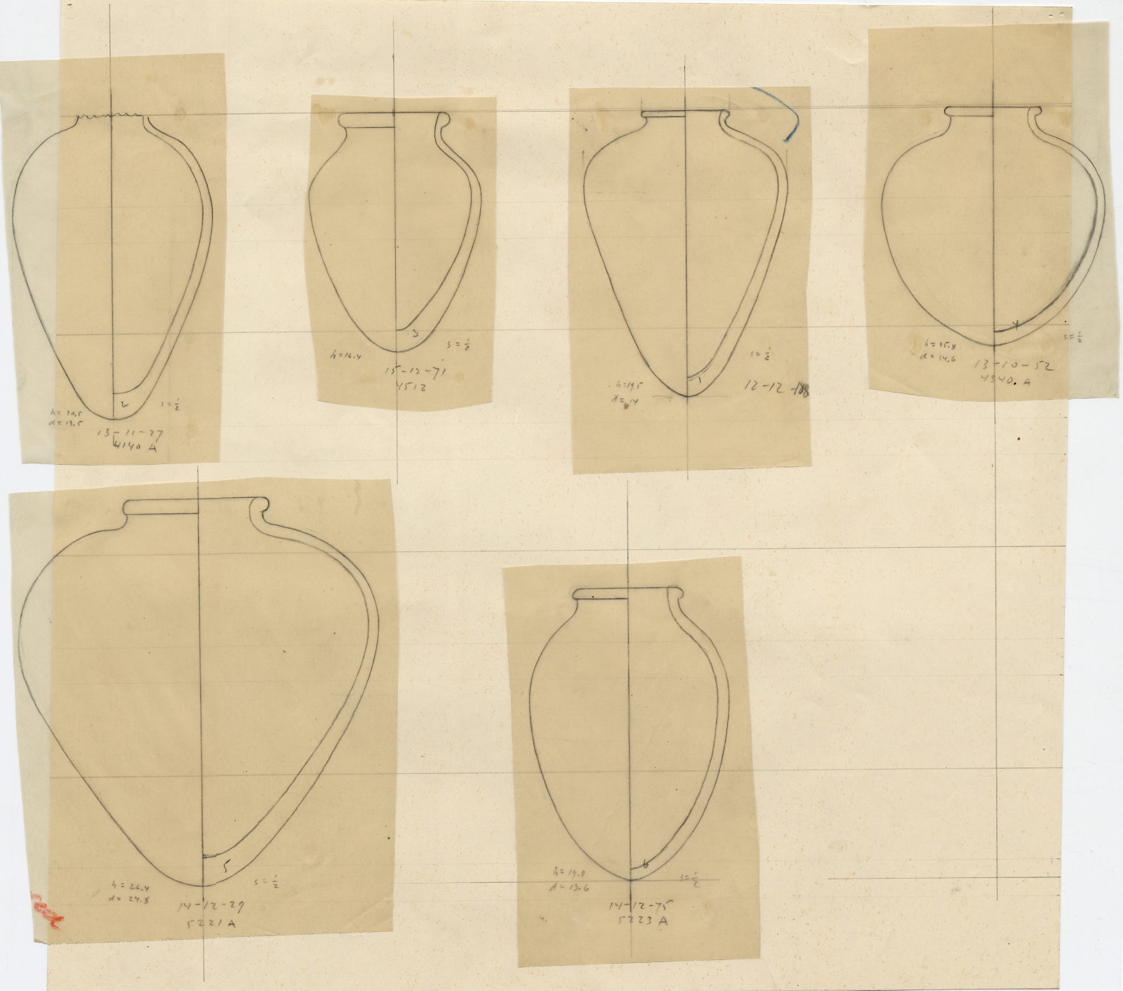 Drawings: Pottery jars from G 2381, G 4140, G 4340, G 4512, G 5221, G 5223