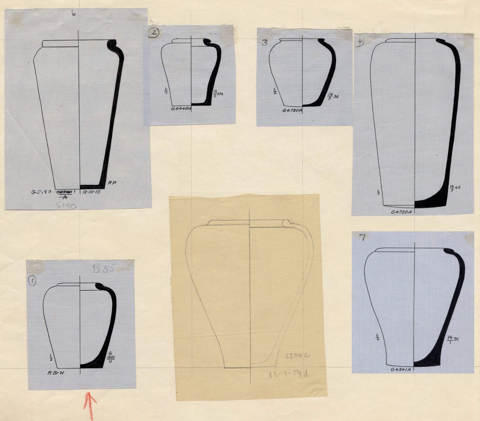 Drawings: Pottery jars from G 1201, G 4341, G 4440, G 4720, G 5080, G 5190
