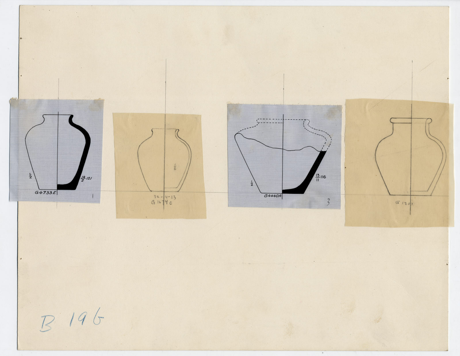 Drawings: pottery jars from G 4733, G 1647, G 1201