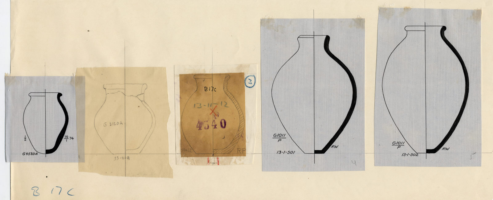 Drawings: Pottery jars from G 1011, G 2120, G 4140, G 4530