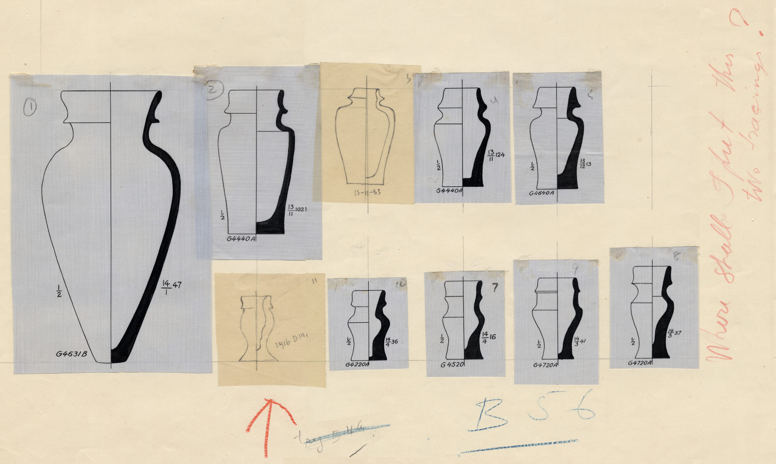 Drawings: Pottery jars from G 2416, G 4220, G 4240, G 4440, G 4520, G 4631, G 4640, G 4720
