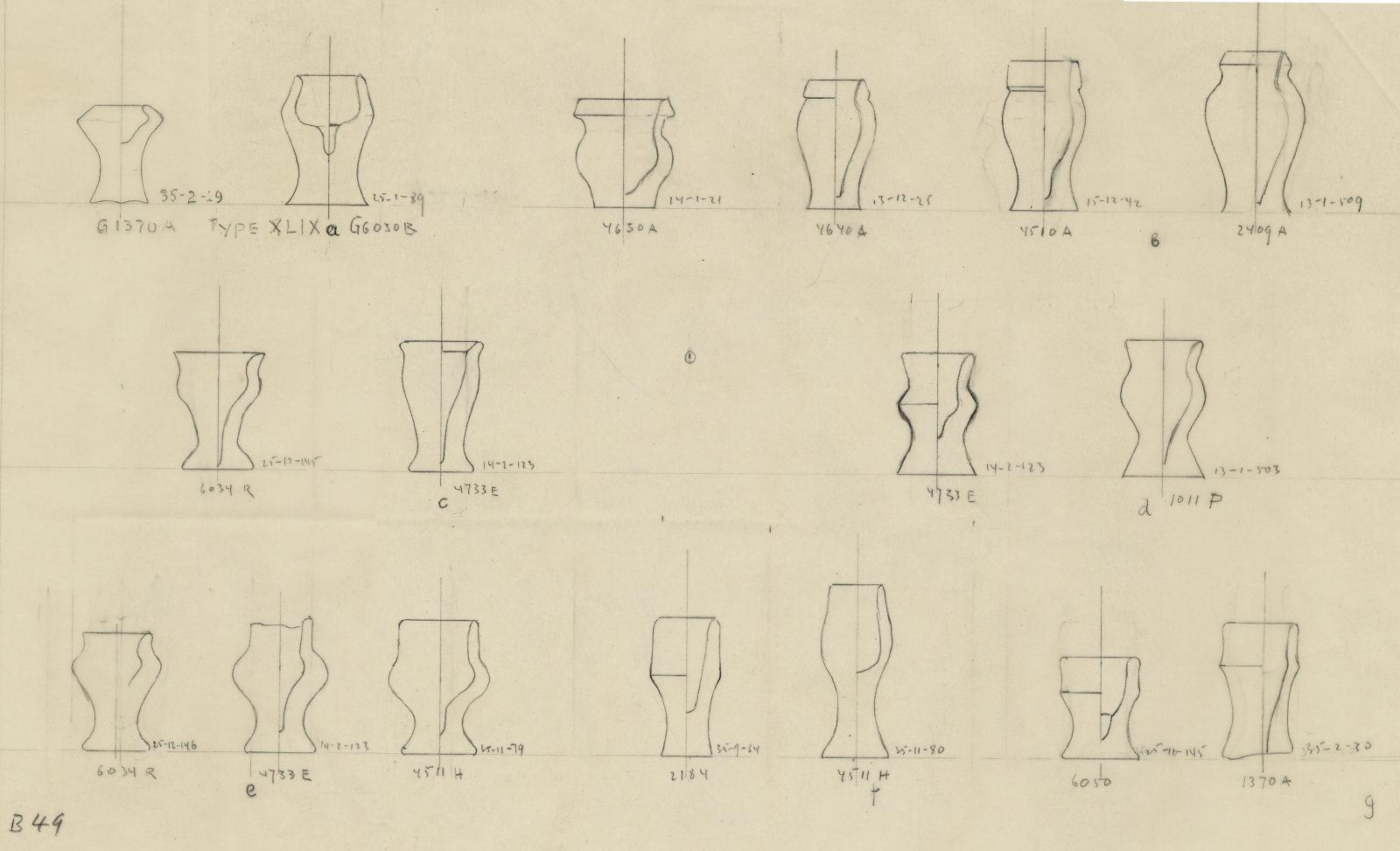 Drawings: Pottery model jars from G 1011, G 1370, G 2184, G 2409, G 4510, G 4511, G 4630, G 4640, G 4733, G 6030, G 6034, G 6050
