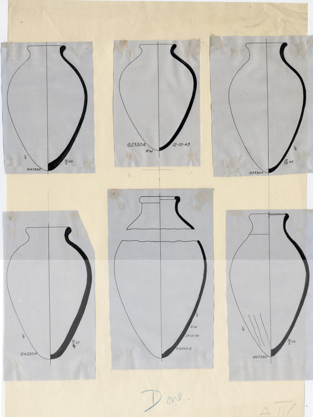 Drawings: Pottery jars from G 4220, G 4733, G 5380, G 6040