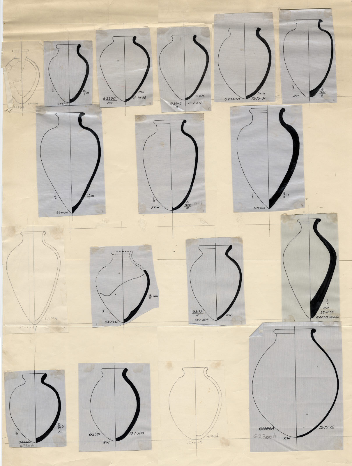 Drawings: Pottery jars from G 1201, G 1210, G 2120, G 2150, G 2175, G 2381, G 2413, G 4140, G 4330, G 4440, G 4630, G 4733, G 5190, G 5380, G 6030