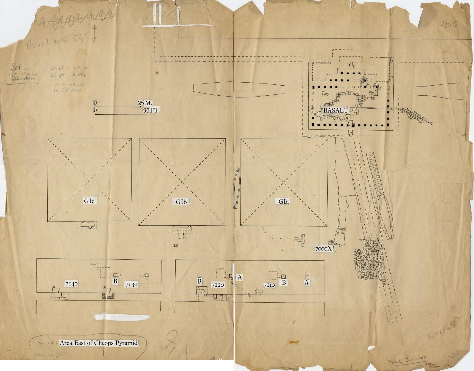 Maps and plans: Plan of Khufu Pyramid, Khufu Pyramid Temple, G I-a, G I-b, G I-c, G 7000 X, G 7110-7120, G 7130-7140