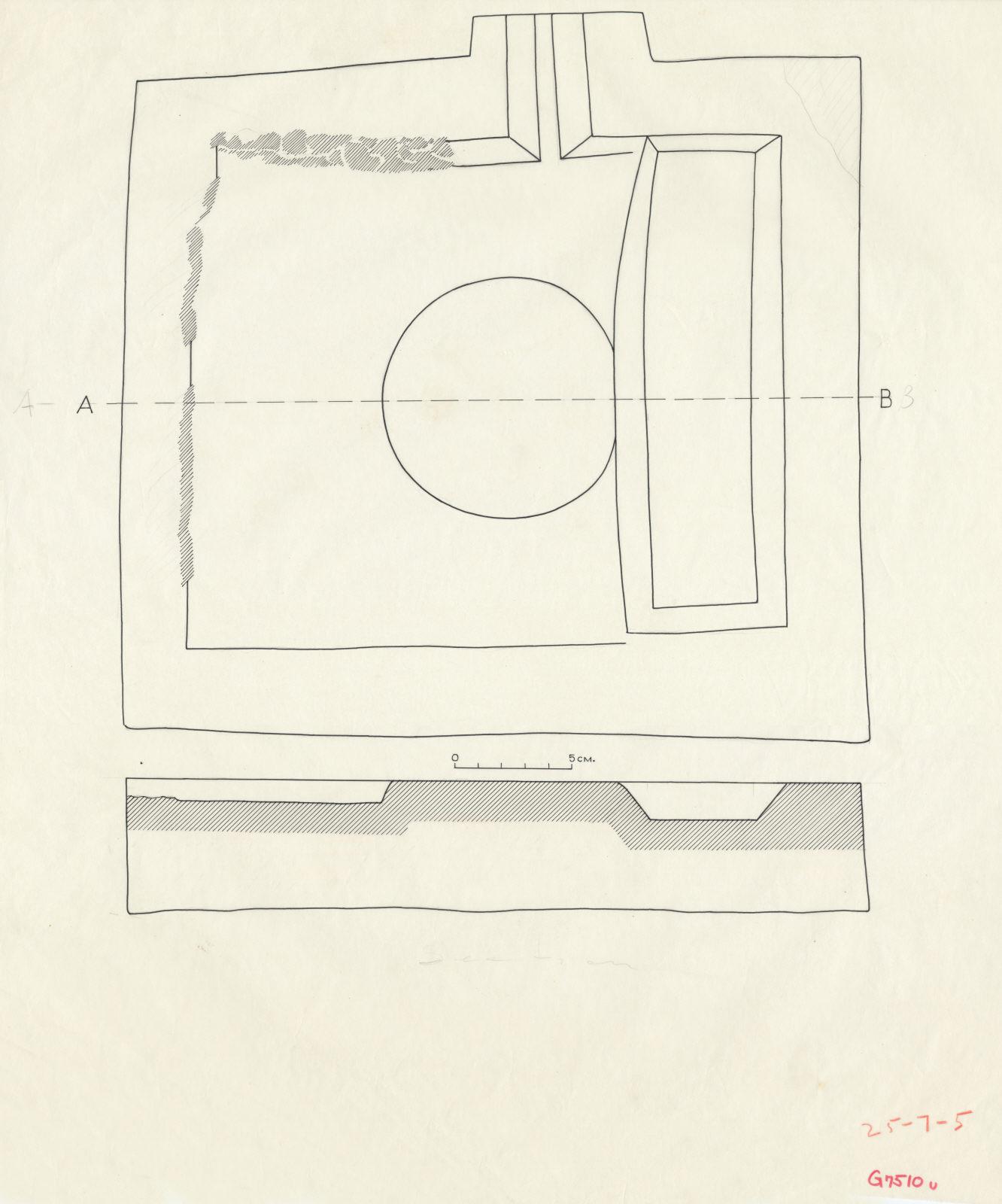 Drawings: G 7510, Shaft U: offering basin