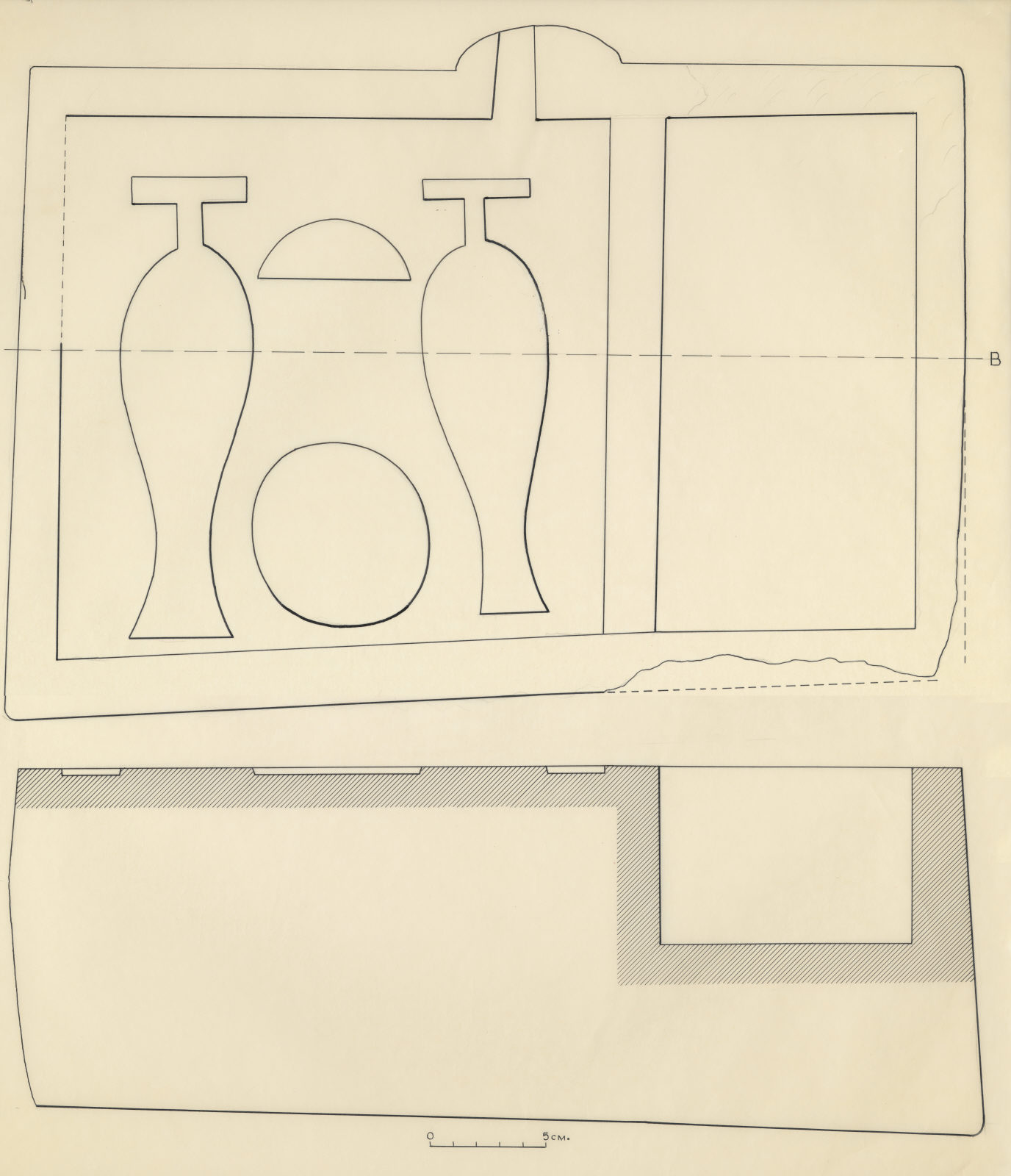 Drawings: G 7230, Shaft B: offering basin from chamber VII debris
