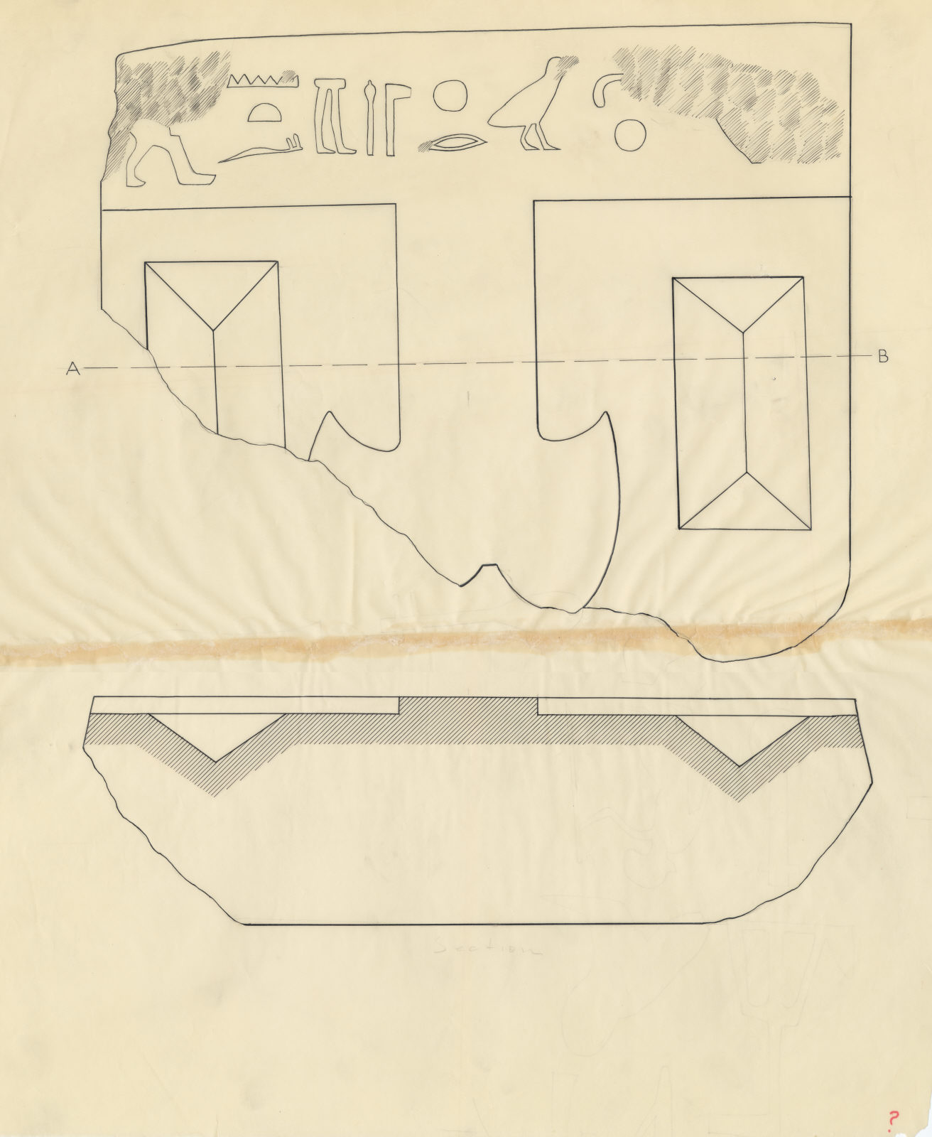 Drawings: offering stone fragment (inscribed) of Intef from G 2391