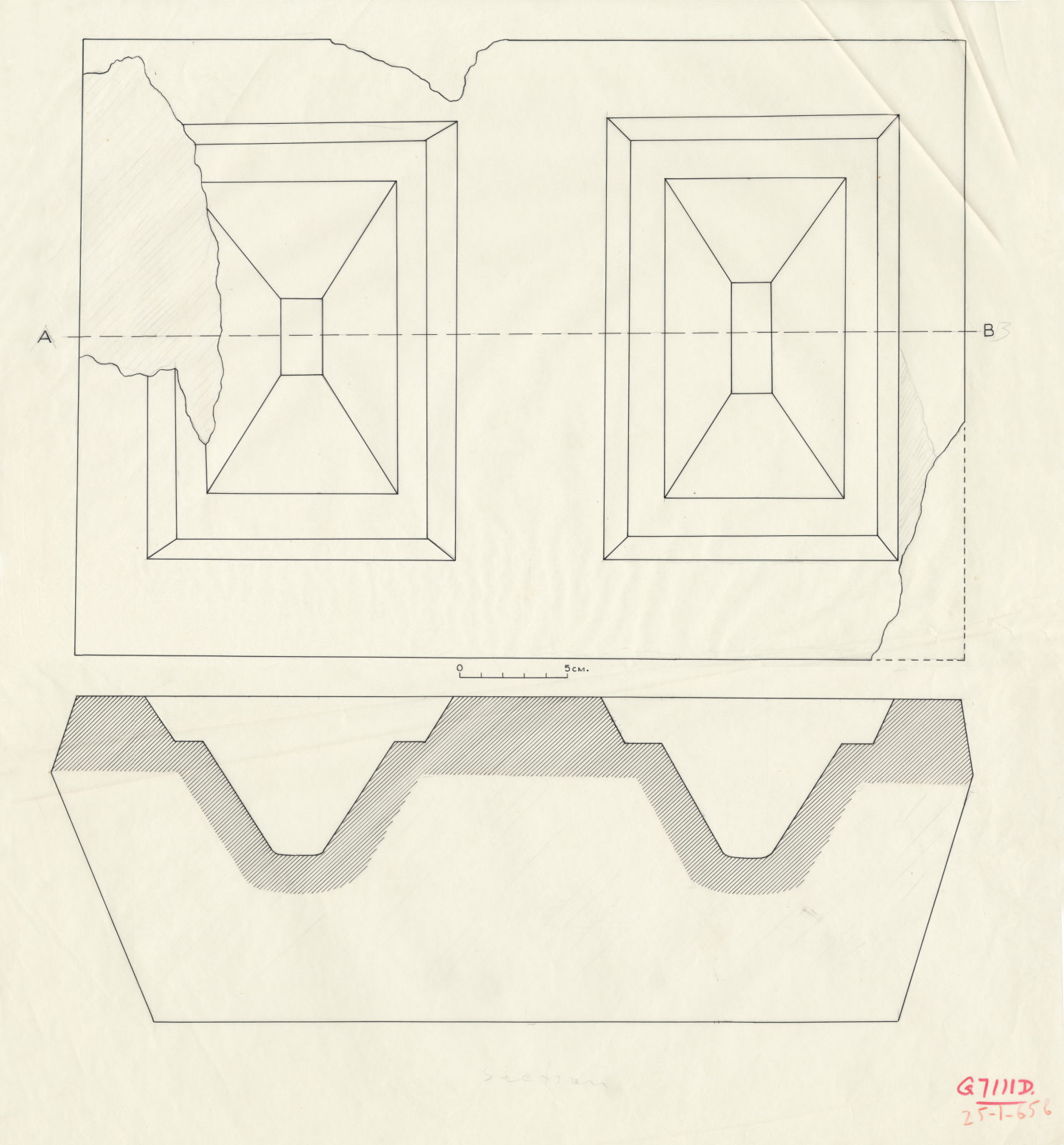 Drawings: G 7111, Shaft D: offering basin