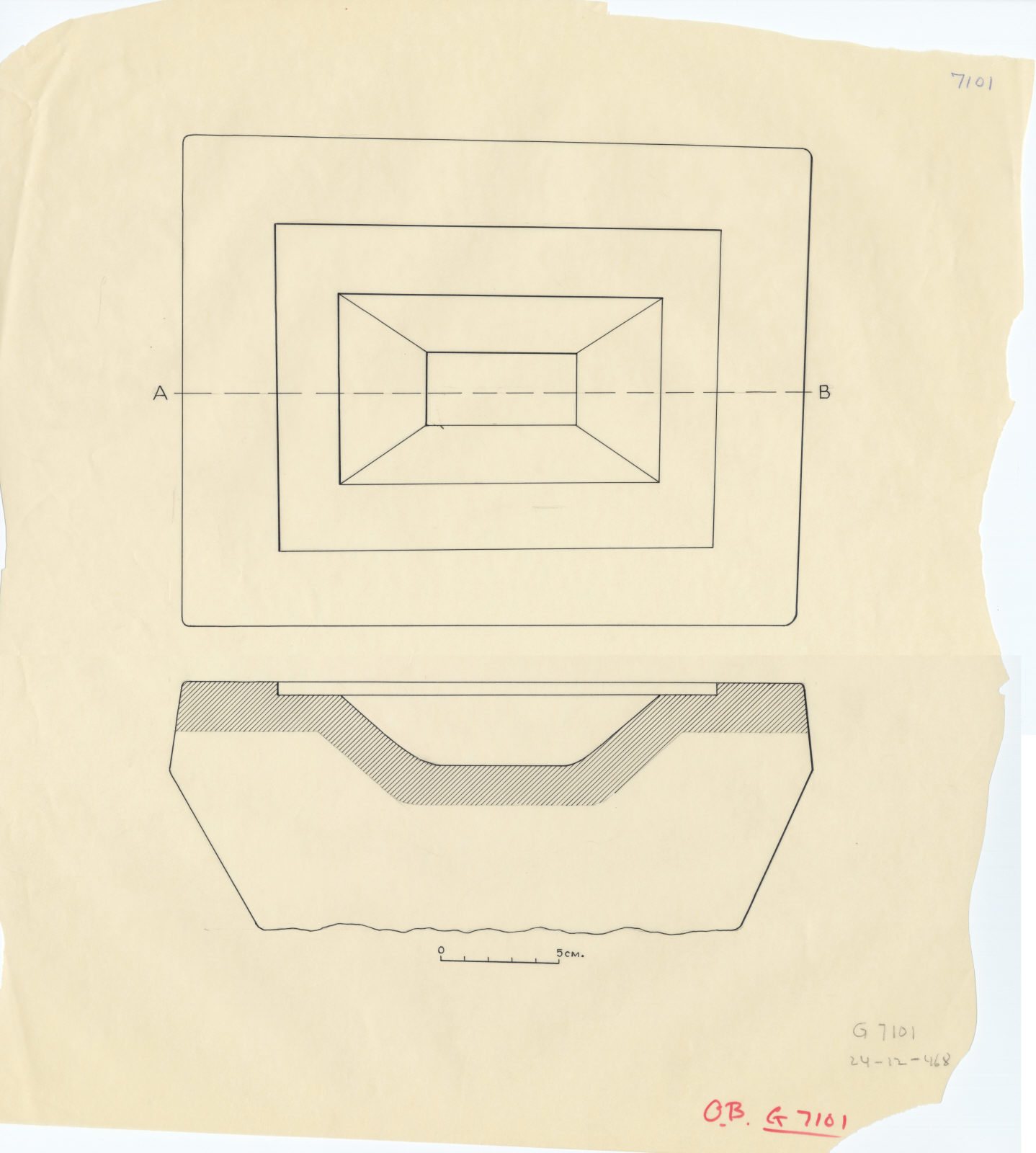 Drawings: G 7101, offering basin, plan and section