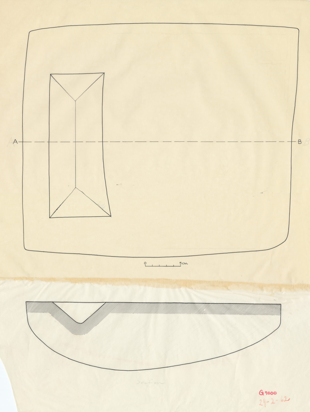 Drawings: G 7000 SE 103: offering basin, plan and section