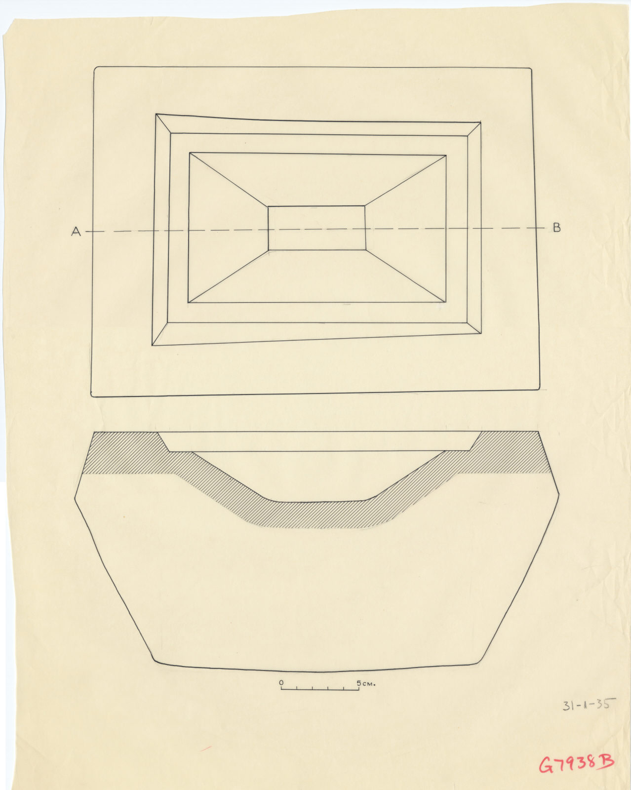 Drawings: G 7938 B: offering basin, plan and section