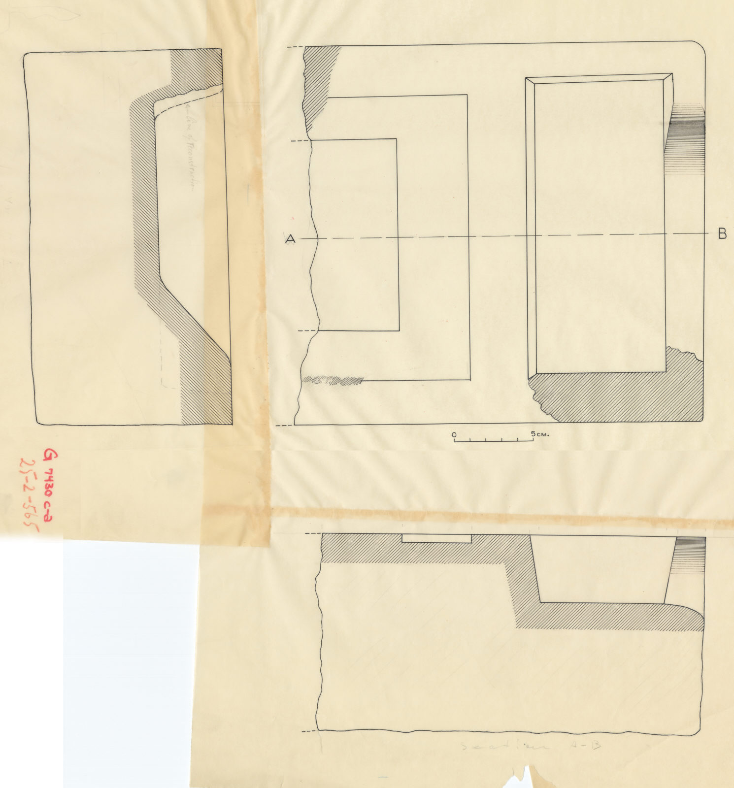 Drawings: G 7430: offering basin, plan and section