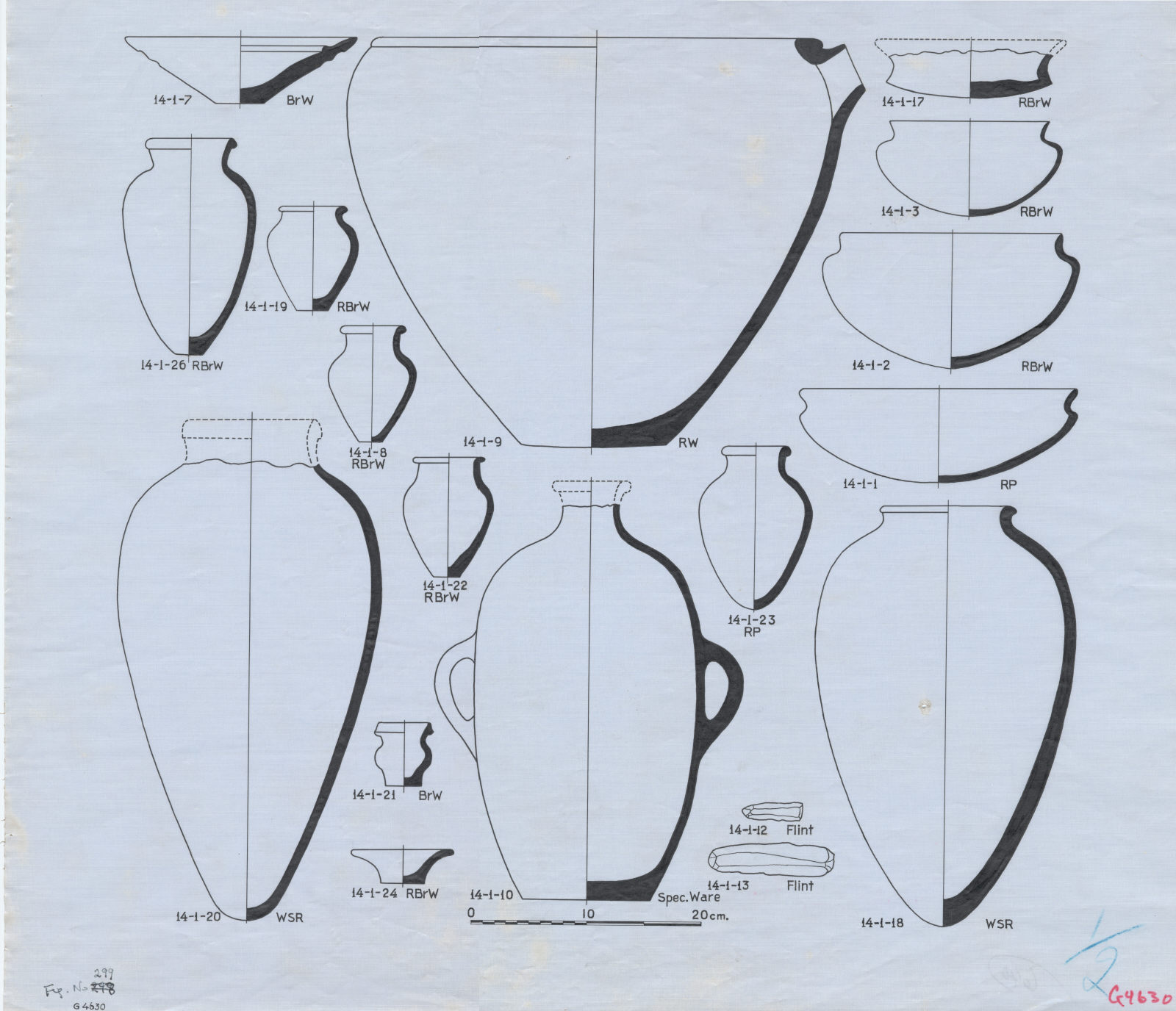 Drawings: G 4630: pottery vessels and flints
