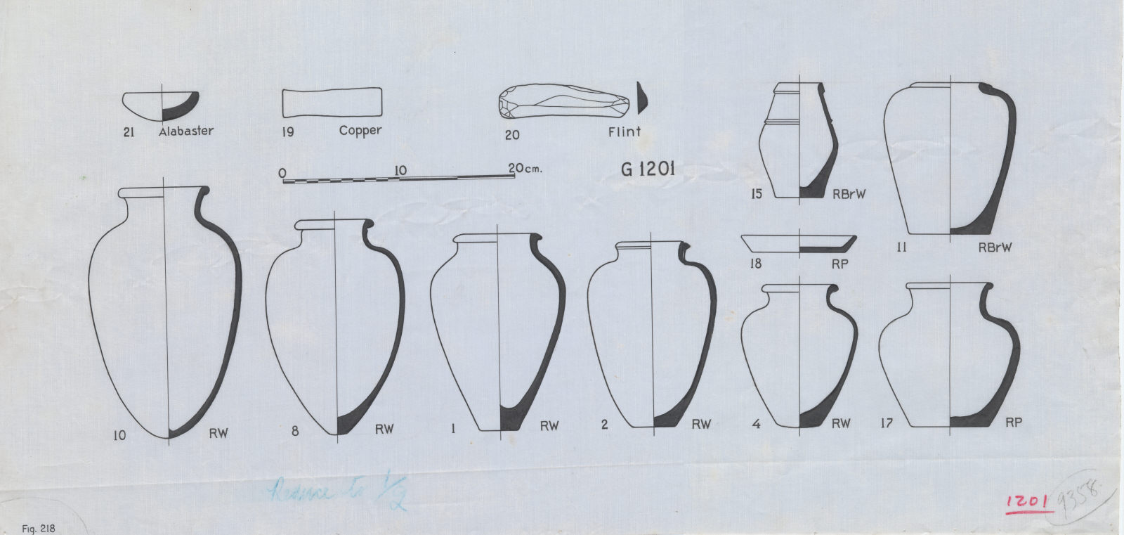 Drawings: G 1201: pottery and stone vessels