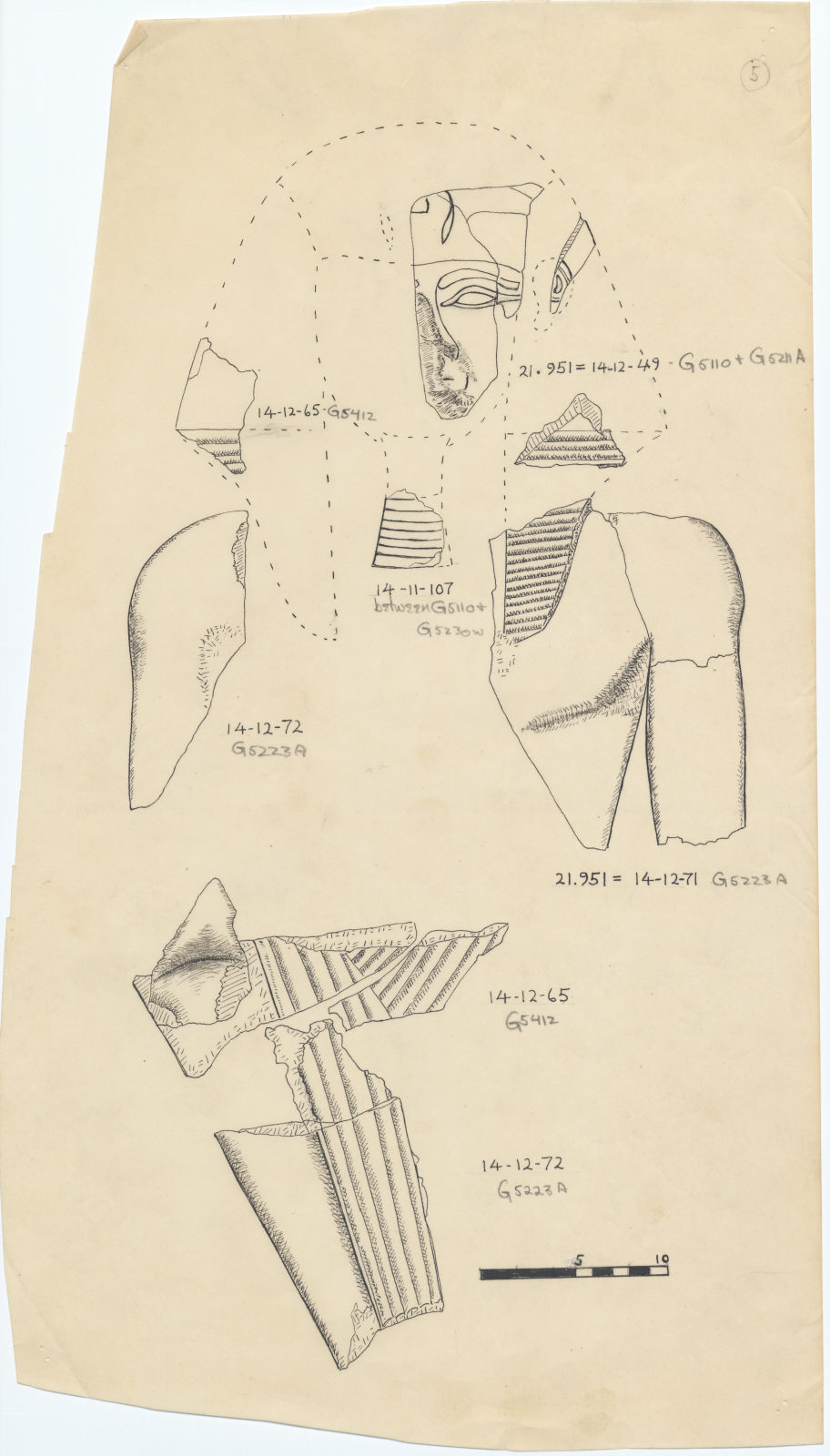 Drawings: Fragments of alabaster royal statuary from G 5110, G 5211 A, G 5223 A, G 5412, between G 5110 and 5230 W, G ____, and G ____
