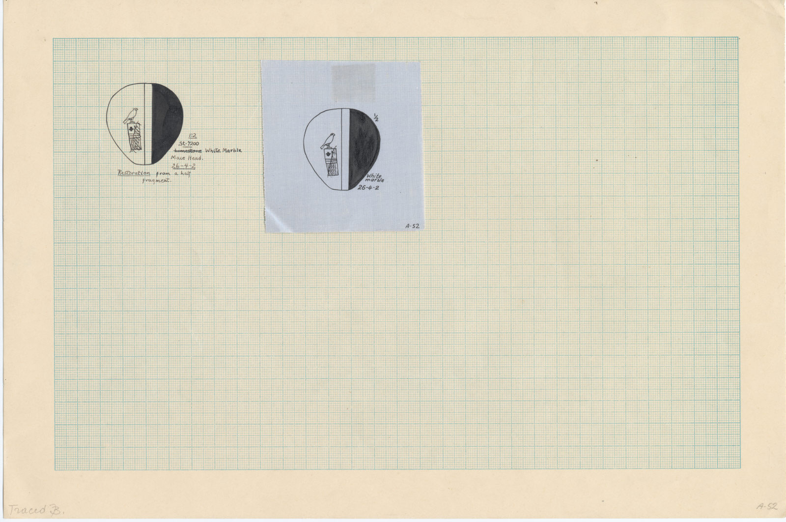 Drawings: Street G 7200: mace head, inscribed