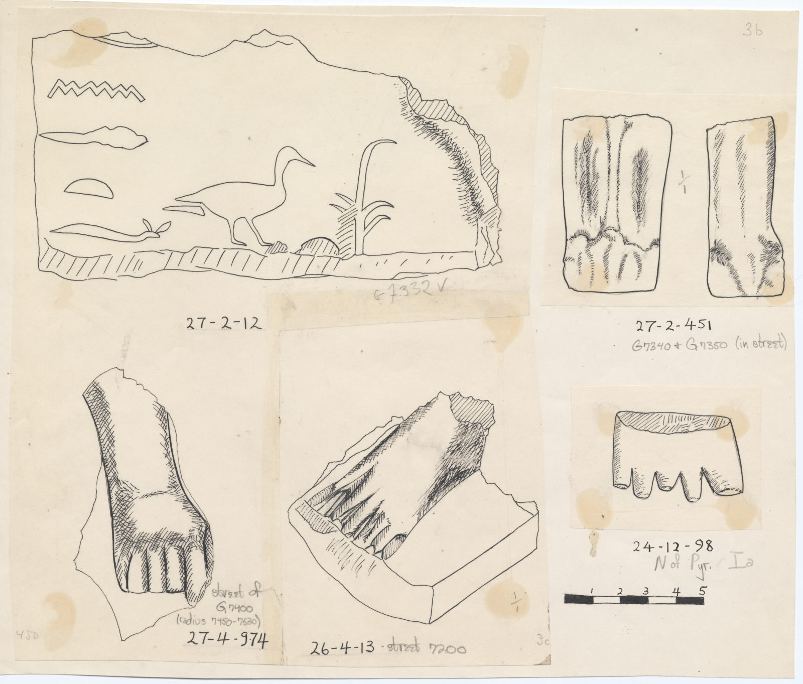 Drawings: Fragments of statues from G 7332 V, G 7340, and G 7350, Street 7200, Street 7400, and N of G I-a