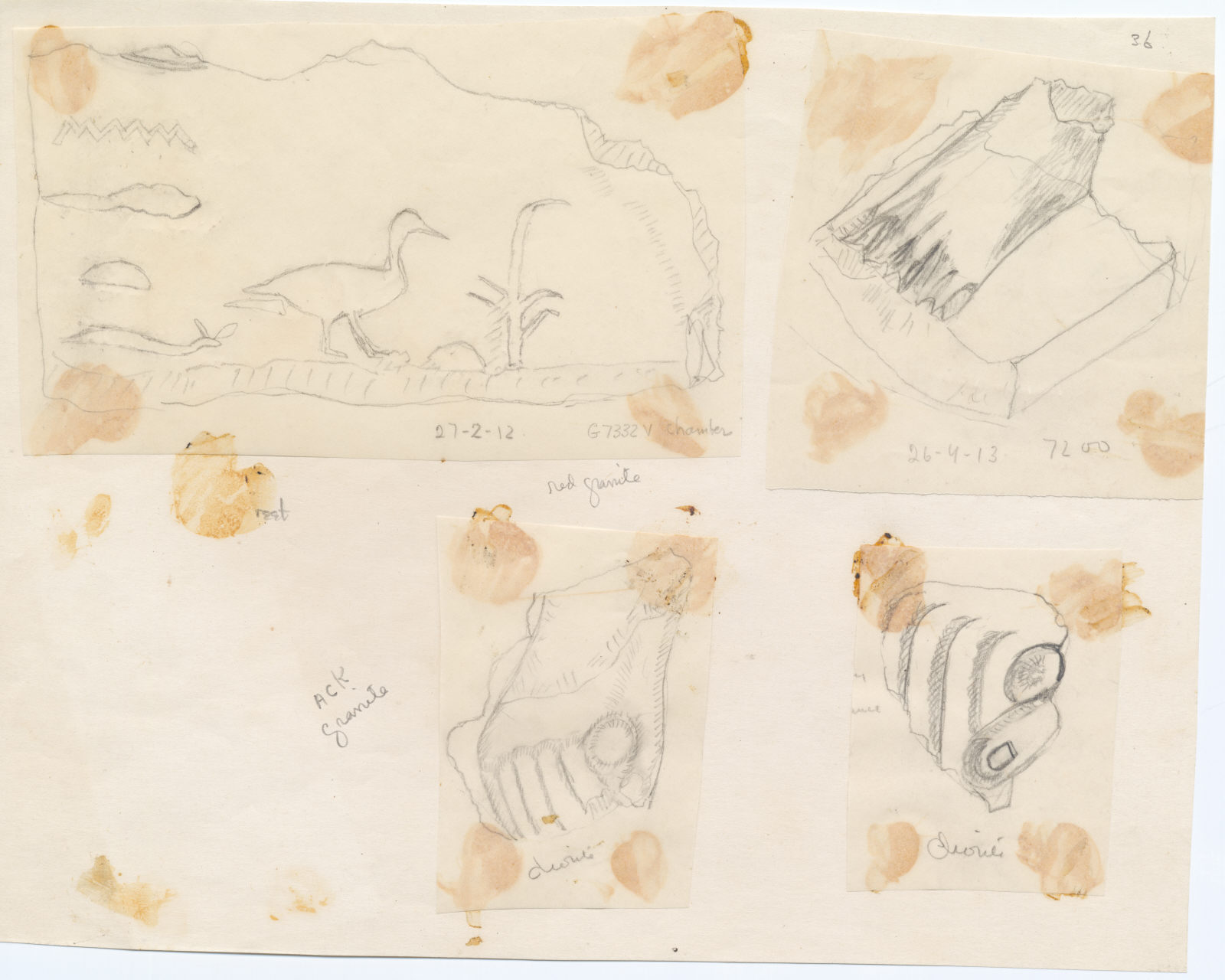 Drawings: Fragments of statues from G 7332 B and V, Street G 7200