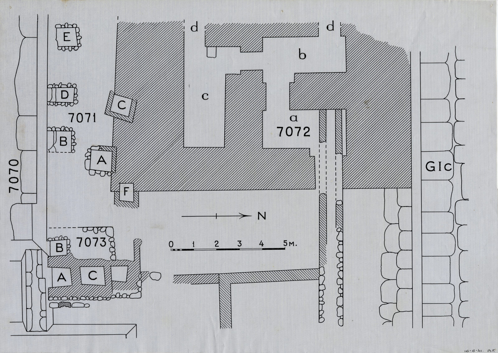 Maps and plans: Plan of Cemetery G 7000, NW corner