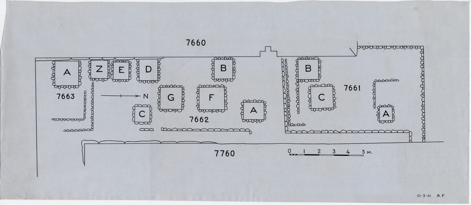 Maps and plans: Plan of Cemetery G 7000, E end