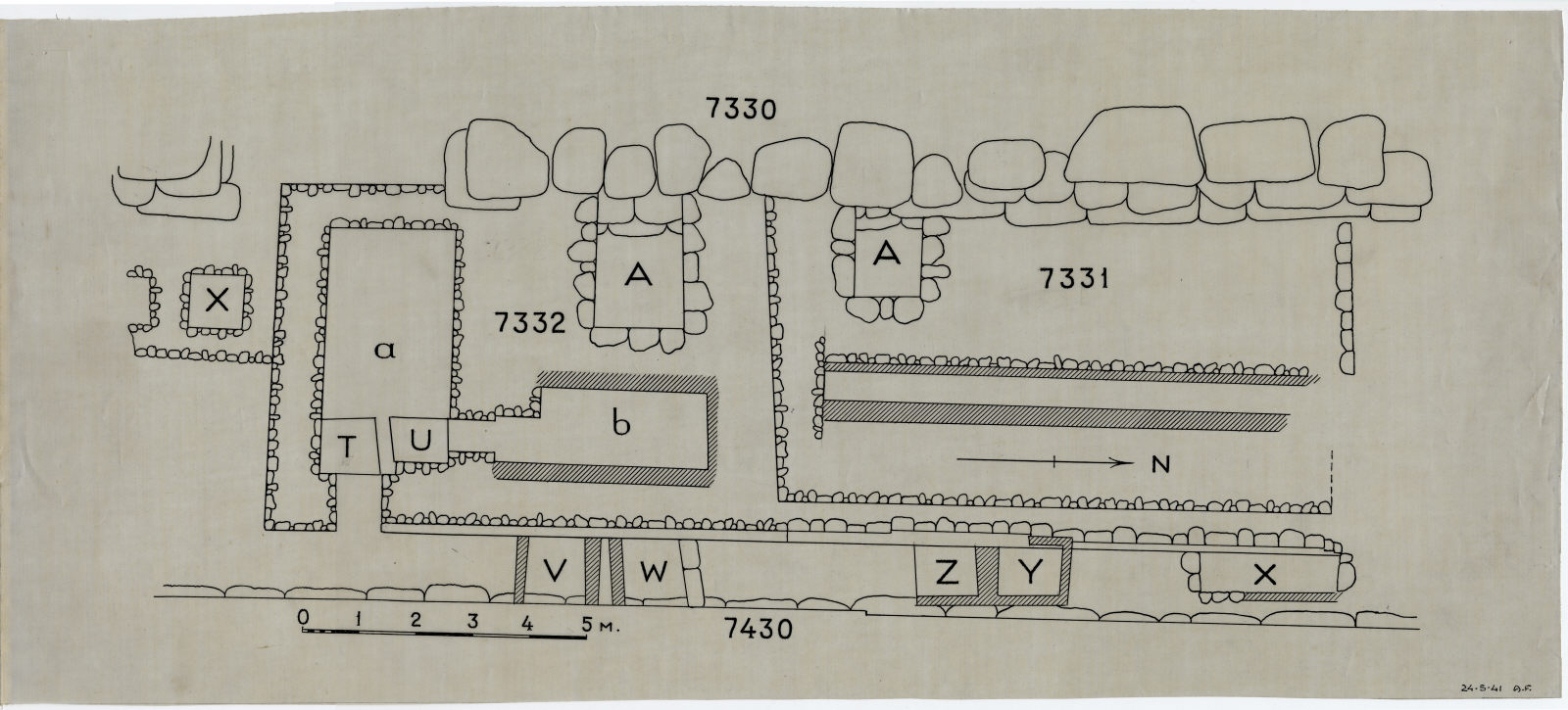 Maps and plans: Plan of Cemetery G 7000, Street E of G 7330: G 7330, G 7331, G 7332, G 7430