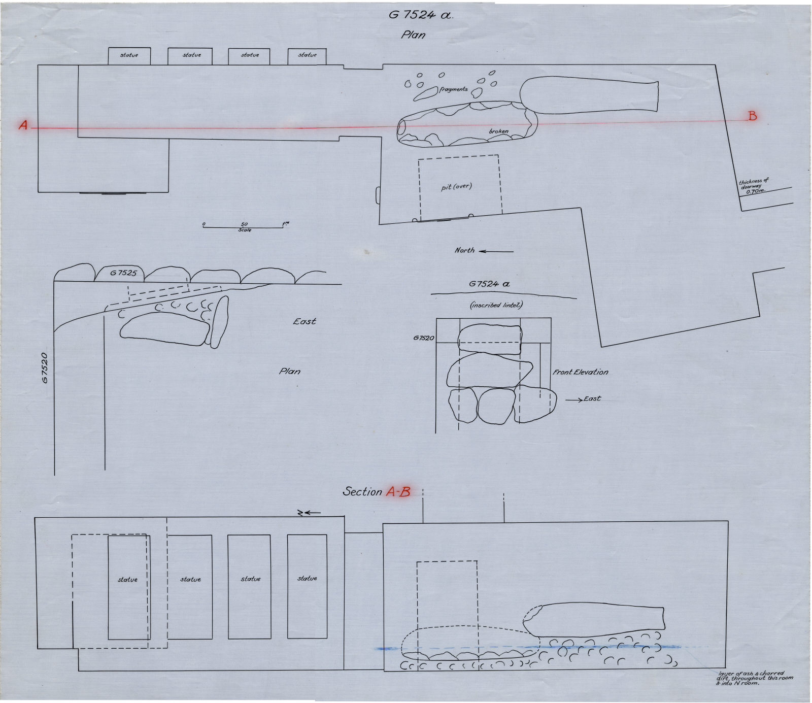 Maps and plans: G 7524, Plan and section of chapel