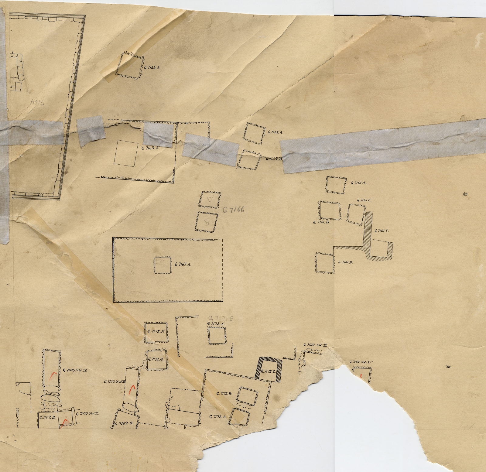 Maps and plans: Plan of Cemetery G 7000: G 7100 SW II,G 7100 SW III, G 7100 SW IV, G 7100 V, G 7100 SW IX, G 7157, G 7161, G 7162, G 7163, G 7164, G 7165, G 7166, G 7167, G 7171, G 7172