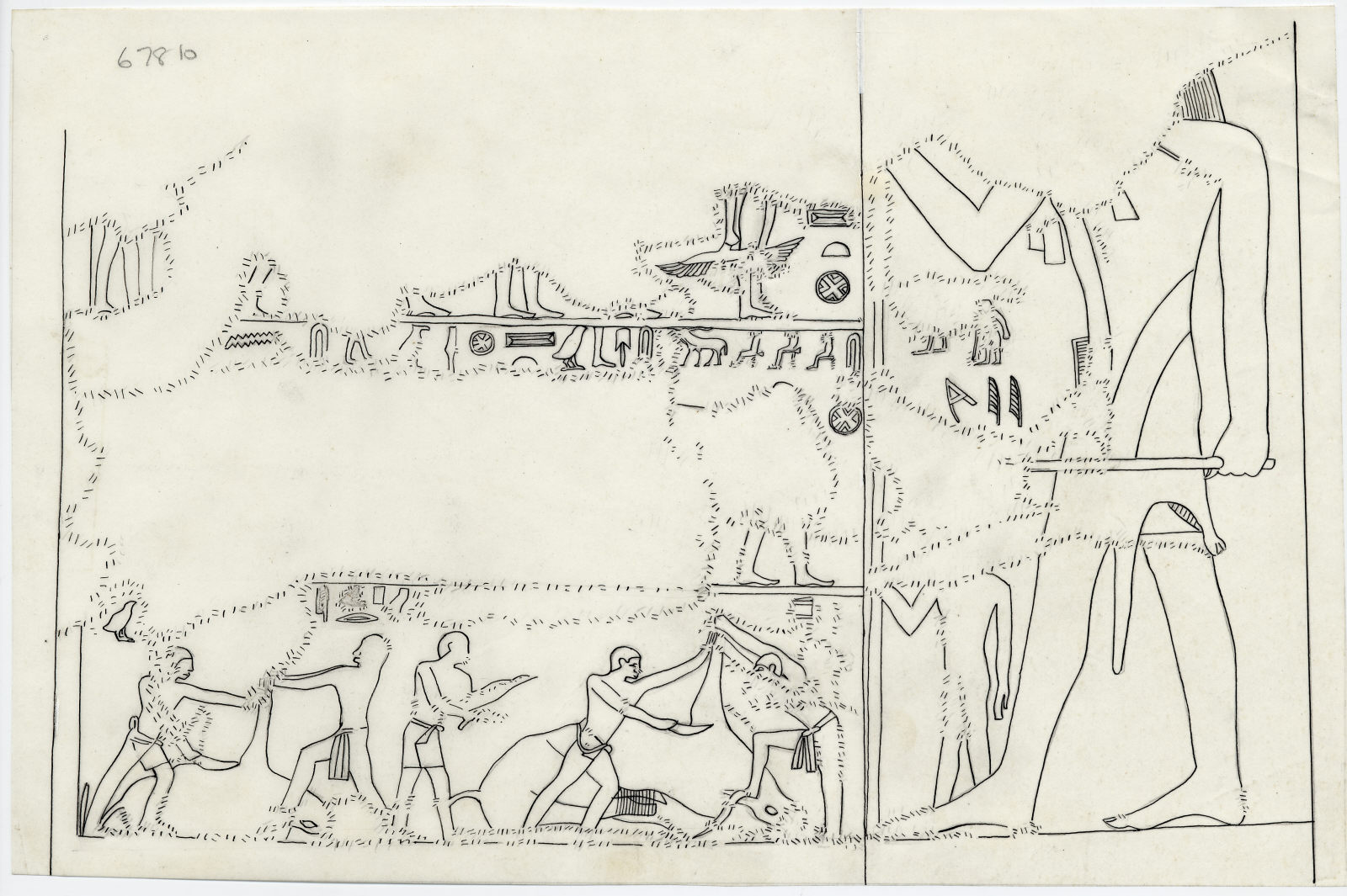 Drawings: G 7810: relief from chapel, W wall, N end