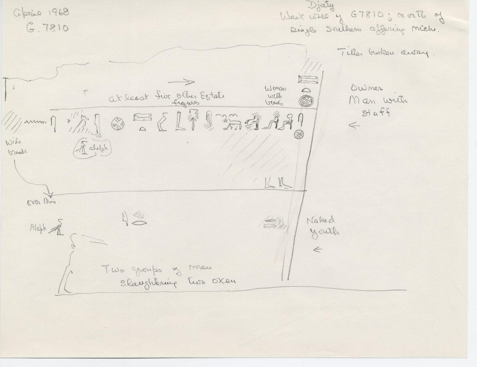 Drawings: G 7810: relief from W wall, N of false door