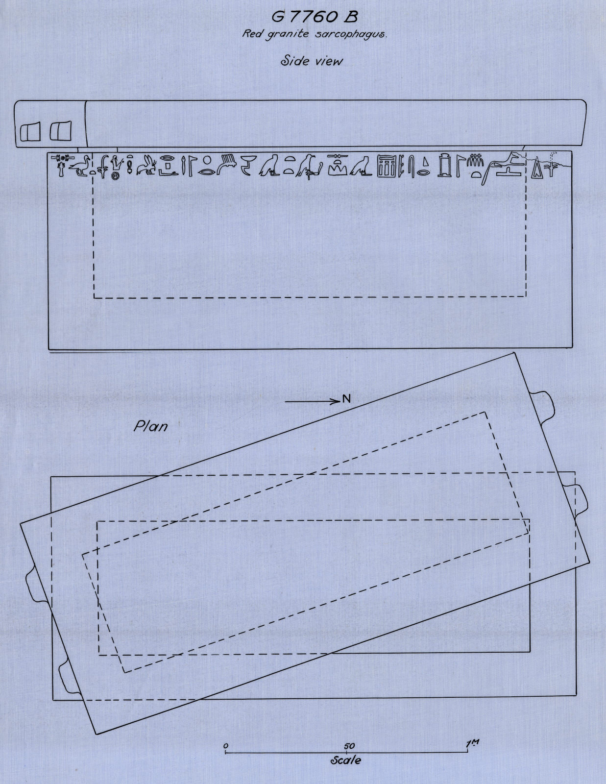 Drawings: G 7760, Shaft B: sarcophagus, red granite, plan and elevation