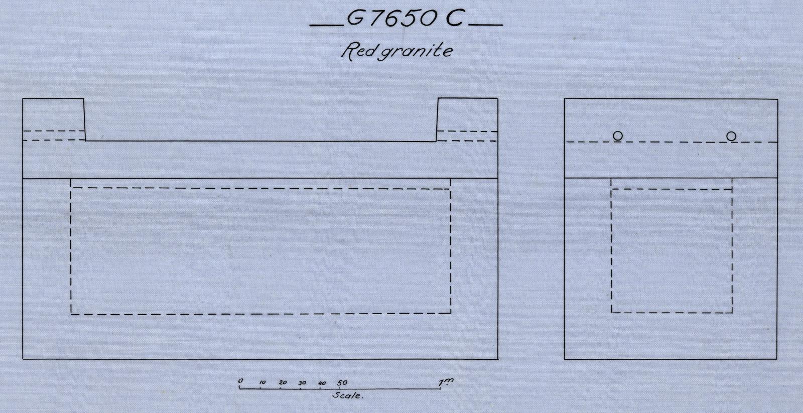 Drawings: G 7650: coffin, red granite