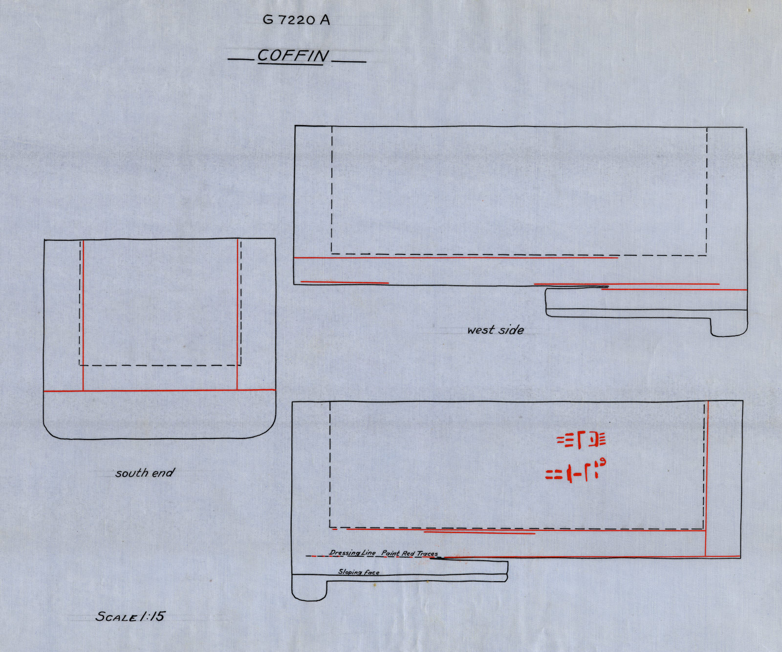 Drawings: G 7220, Shaft A: sarcophagus, red granite