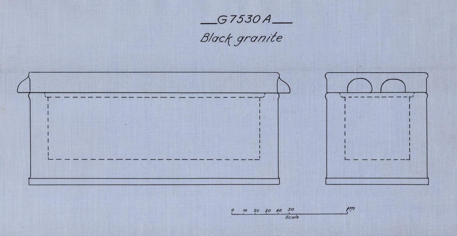 Drawings: G 7530, Shaft A: coffin, black granite
