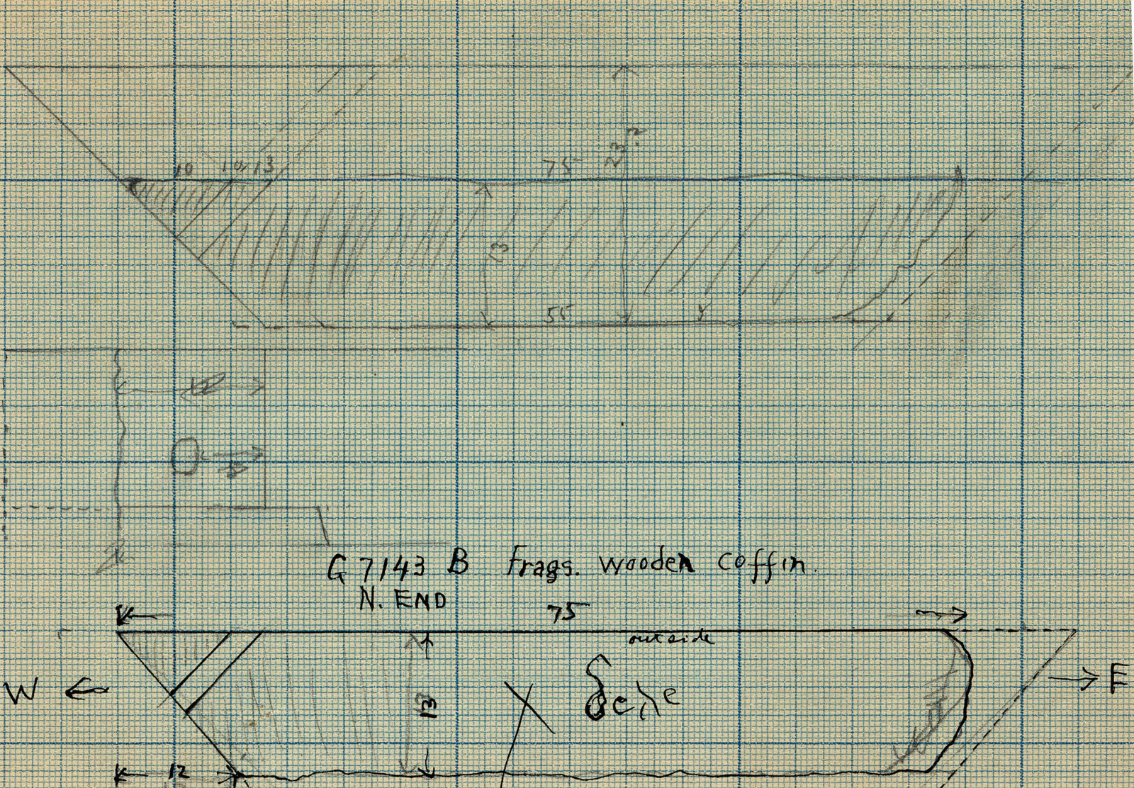 Drawings: G 7143, Shaft B: coffin fragments, wood