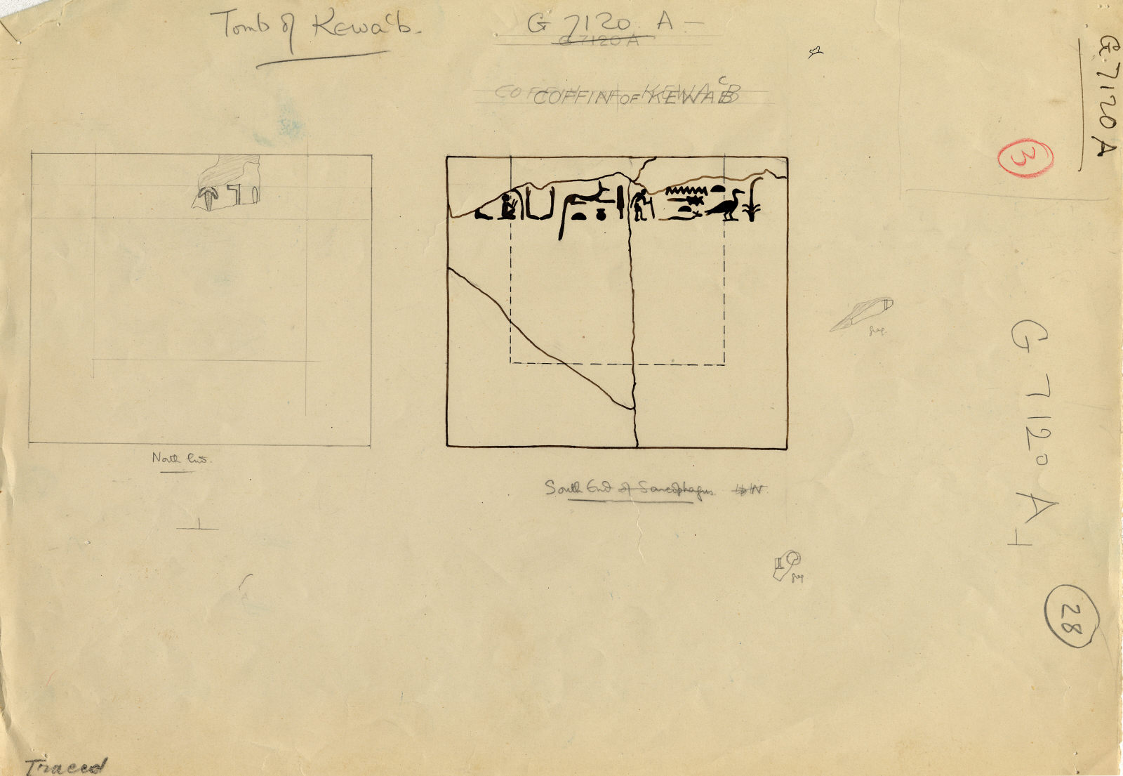 Drawings: 7120, Shaft A: sarcophaugs of Kawab, red granite