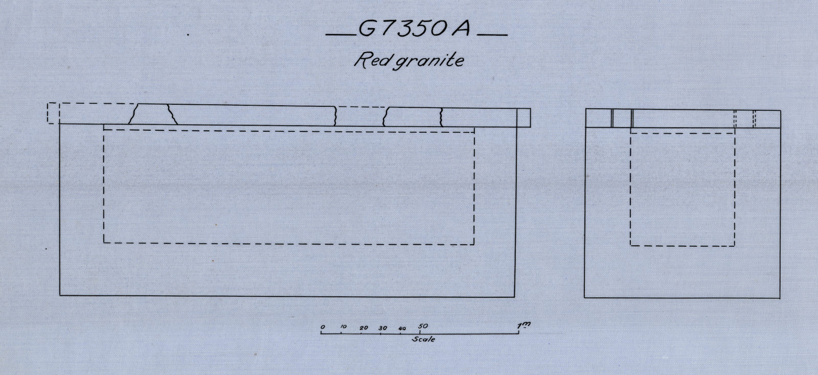 Drawings: G 7350, Shaft A: coffin, red granite