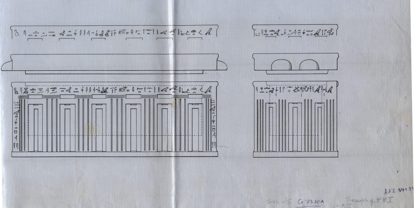 Drawings: G 7530, Shaft A: sarcophagus and lid, black granite